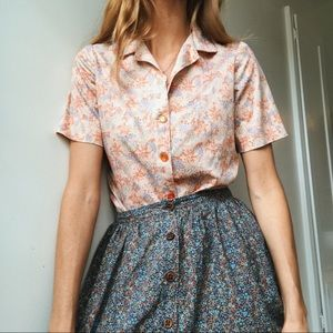 Vintage Pink Floral Button Up Top